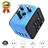 International Travel Adapter Universal Power Adapter Worldwide All in One 4 USB Perfect for European US, EU, UK, AU 160 Countries (Blue)