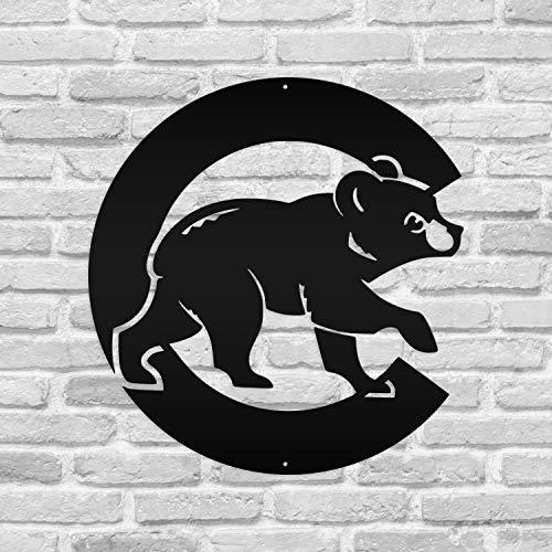 Chicago Cubs Bear Baseball Metal Sign Custom Sign Housewarming Wall Art Decor Ornament