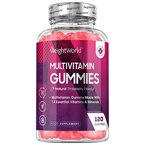 Gominolas Multivitaminas y Minerales de Alta Potencia 120 Unidades - Con 14 Vitaminas y Minerales Activos, Con Vitamina C, A, D, B y Biotina, Zinc, Yodo, Sodio y Ácido Fólico, Para Hombres y Mujeres