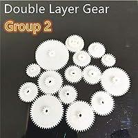Gear すべての種類のM0.5プラスチック歯ダブルレイヤー歯車減速機グループ2デッキDIYおもちゃのロボットカーヘリコプターパーツ Tool parts (Hole Diameter : 2pcs of gears, Number of Teeth : 22082A)