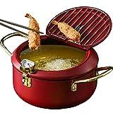 "UNIKON Tempura Fry Pot Deep Fryer Frying Chicken Pot, Kitchen Deep Fryer Pan with Thermometer and Lid, 8"""