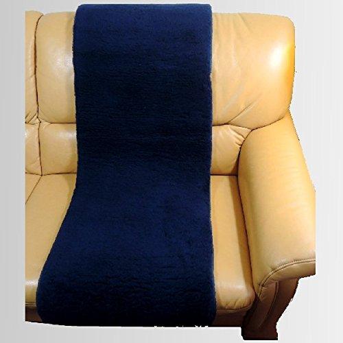 LANAMED 50 x 140 cm - Australische Antidekubitus Sesselauflage. Dunkelblau. Ultra-dichter Schurwoll-Komfort mit einer Wollhöhe von ca. 3 cm. Bei 30-80° C maschinenwaschbar und trocknergeeignet. Mit Befestigungsbändern. LANAMED ca. 50 x 140 cm