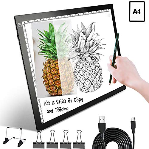 Led Light Box Tracing, Drawing Pad A4 Board Portable Art Graphic Painting Writing Table Tool for Artists Drawing Sketching Animation for Children