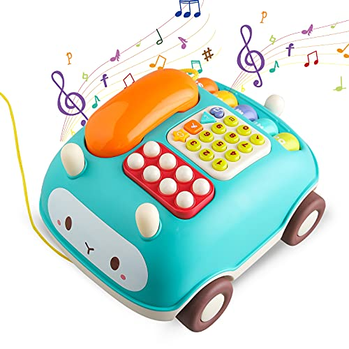 Tikooere Multi-Function Musical Toys for 1 2 3 Years Old,Telephone Toy with Hit The Hamster Game,Piano,Music and Light,Early Education Phone Toy Gifts for 1-3 Years Toddler Kids Boys Girls (Red)