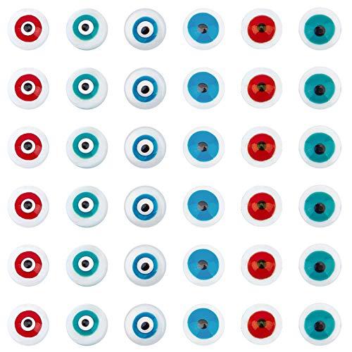 NBEADS 60 cuentas de concha de mal de ojo de agua dulce, 6 cuentas de concha surtidas para el mal de ojo, cuentas espaciadoras redondas planas para pulseras, collares y bisutería.