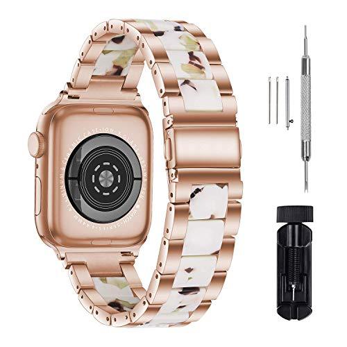 GraceTeng - Cinturino per Apple Watch, 38-40 mm, serie 42-44 mm, serie 6/5/4/3/2/1, cinturino in resina Apple, fibbie in acciaio inox per uomini e donne (42 mm/44 mm, colore: Bianco torrone