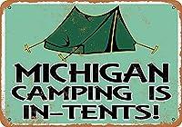 -ミシガンキャンプがあります-テント、ティンサインヴィンテージフェイスホワイトいクリーチャーアイアンペインティングメタルプレートパーソナリティノベルティ