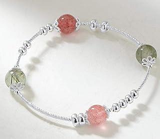 LWQQY Strawberry crystal bracelet female sterling silver transfer beads simple green hair crystal bracelet female trick pe...