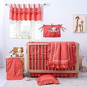 Brandream Crib Bedding Sets Luxury Coral Orange Baby Girl Bedding Set