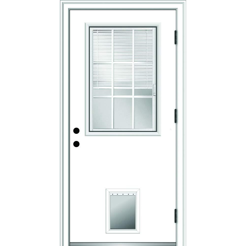 National Door Company Zz364826l Steel Primed Left Hand Outswing Prehung Front Door 1 2 Lite With Pet Door Internal Blinds And Grilles 32 X80 Steel 80 Height Amazon Com Industrial Scientific