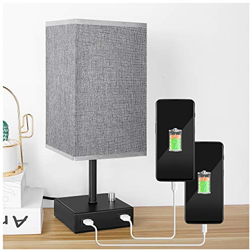 USB Bedside Table Lamp, PENDEI Table Lamp with 2 Fast USB Charging Port, Metal Base with Grey Linen Fabric Shade, Ambient Nightstand Lamps for Bedroom Living Room Office (LED Bulb Included)