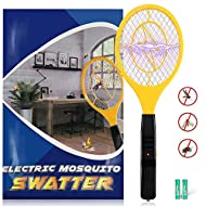 Karvipark Bug Zapper, Fly Zapper Racket with 2 AA Batteries, Electric Fly Swatter Mosquito Zapper for Indoor Travel Campings and Outdoor Occasions (Yellow)