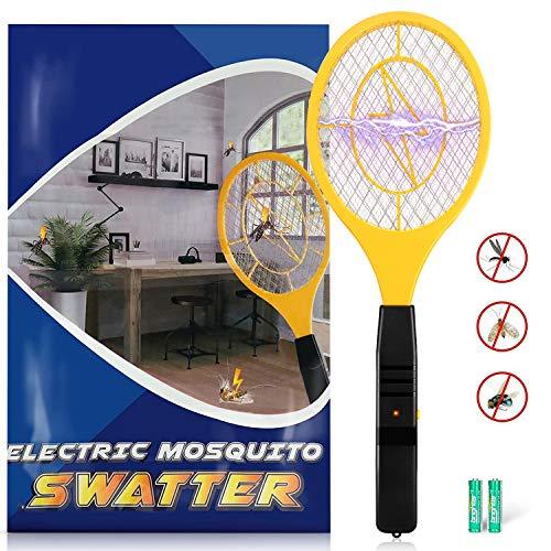 Karvipark Matamoscas Eléctrica,Raqueta Matamosquito de 2AA Baterías Eliminador de Insectos de Mano para Exterior e Interior