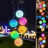 Joomer Chime Wind Chimes Carillones de Viento LED con energía Solar con Cambio de Color Lámpara giratoria para iluminación de jardín/Patio al Aire Libre Decoración Navidad Cumpleaños