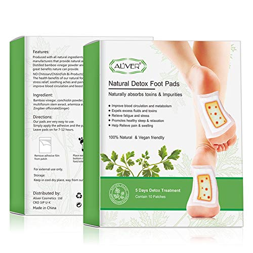 Detox Foot Pads, Natural Detox Foot Patches, for Pain Relief Stress Relief Deep Sleep, Detox Cleansing Foot Pads, Relieve Body Stress Improve Sleep Quality Enhance Blood Circulation-2 * 10PCS