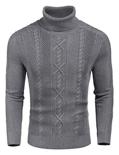 COOFANDY Men's Casual Turtleneck Sweater Slim Fit Long Sleeves Pullover with Twist Patterned