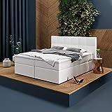INNOCENT® - P8 | Cama con somier de 140 x 200 en blanco PU | Colchón de gel y viscoso de 7 cm | Núcleo de muelles...