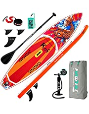 """FunWater SUPInflatable Stand Up Paddle Board 11'6""""/11'x33 x6 Ultra-Light ISUP with Paddleboard Accessories,Fins,Adjustable Paddle, Pump,Backpack, Leash, Waterproof Phone Bag"""
