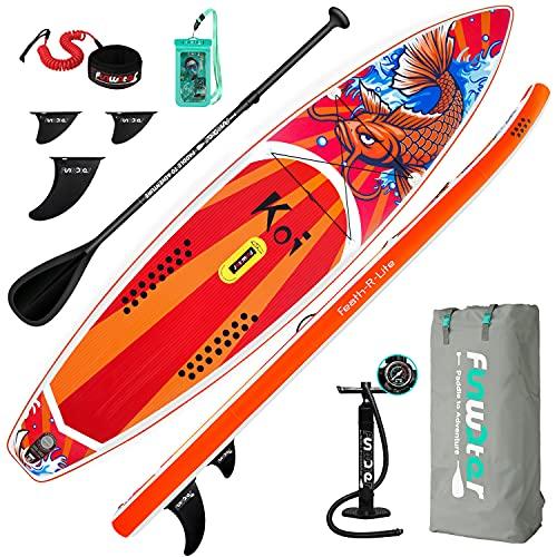 FunWater Tabla de Surf de Remo Hinchable de SUP, Todo Incluido, Tabla de Surf, Cubierta Antideslizante, Mochila de Viaje, Remo Ajustable, Bomba, Correa, Bolsa Resistente al Agua