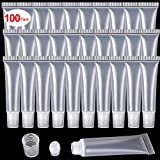 100 Pcs 10 ml Lip Gloss Balm Tubes Refillable Empty Tubes Clear Cosmetic Containers Soft Tube