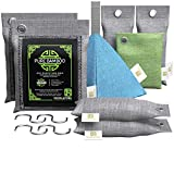 Nook & Fork Pure Bamboo Charcoal Bags Odor Absorber – 8 Activated Breathe Green Charcoal Bags for Home, Car, Pets to Eliminate Odors (Green)