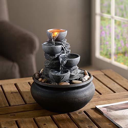 Peaktop Fuente de mesa de agua para interior con luces PT-TF0001-UK, color gris piedra