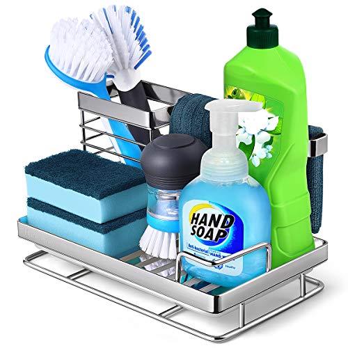 Homemaxs Sponge Holder for Sink【2021 NEWEST】, Sink Caddy Sponge Soap Brush Holder with Innovative Storage, 304 Stainless Steel Kitchen Sink Organizer with Front Drain Pan &Widen Draining Design
