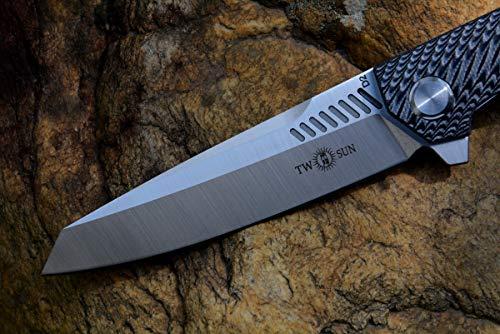 TwoSun Knife TS16 Black G10 Handle Folding Knife D2 blade, Ceramic Ball Bearing Flipper Fast Open, Pocket Survival Knife with clip