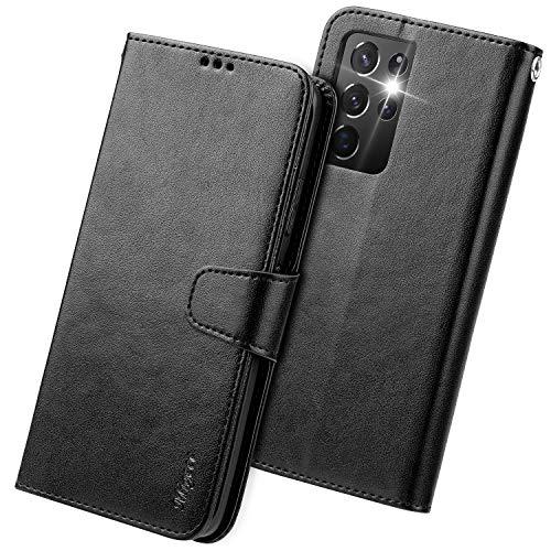 Migeec Funda de piel con tapa para Samsung Galaxy S21 Ultra 2021, color negro
