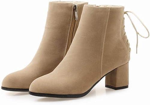 ZHRUI Stiefel para damen - Stiefel para la Moda de Invierno Stiefel morrales en Punta de Inglaterra   34-43 (Farbe   Buff, tamaño   43)