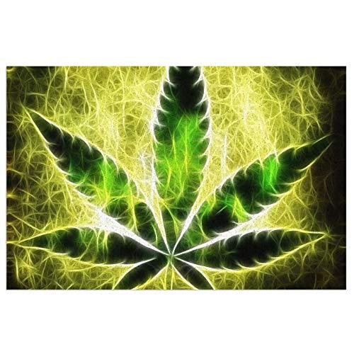 HARLEY BURTON Alfombra para puerta de interior superabsorbente, para puerta delantera, plantas de marihuana, color amarillo, brillante, antideslizante, impermeable, lavable a máquina, 15,7 x 23,6 cm