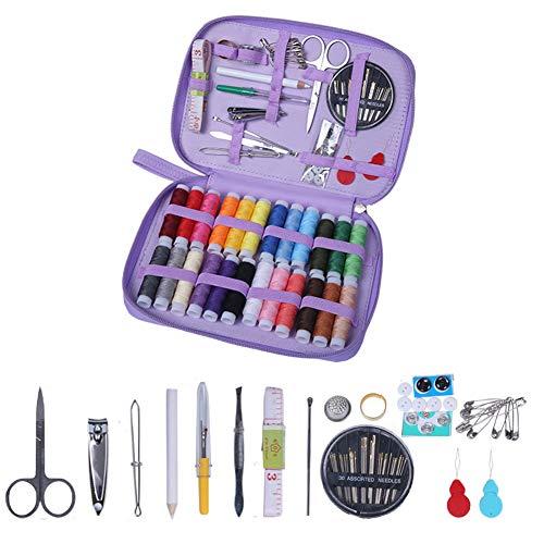OneMoreT Kit de costura, agujas de rosca tijeras botón manualidades 90 paquetes accesorios de aguja caja de cuero bolsa para el hogar, viajes, uso de emergencia DIY, morado