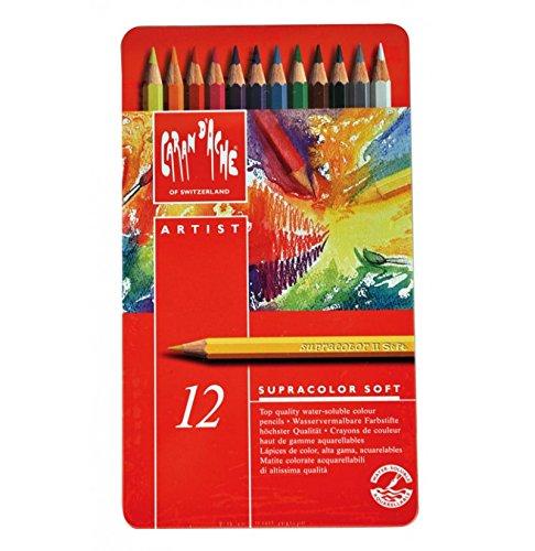 Cornici Paglia Caran d'Ache Supracolor Soft 12 matite - MATITE Colorate ACQUERELLABILI, Scatola in Metallo, 12 Pezzi