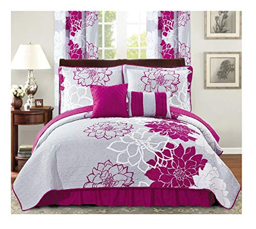 All American Collection New 6pc Flower Printed Reversible Bedspread Set with Dust Ruffle (King Size, Purple/Grey)