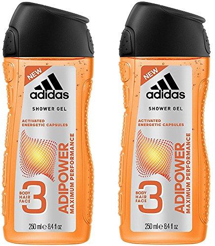 adidas adipower Duschgel für Herren 3-in-1 – Aktivierendes Shower Gel für Körper, Haare & Gesicht – pH-hautfreundlich – 2er Pack (2 x 250 ml)