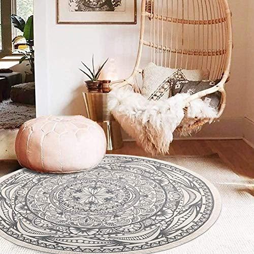 SHACOS Teppich Baumwolle Waschbar Rund Teppich Vintage Grau Flachteppich Esszimmer Gewebte Teppiche für Wohnzimmer, Schlafzimmer usw.