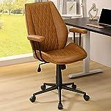 PU Leder Bürostuhl ergonomisch Braun Schreibtischstuhl mit Abnehmbare Armlehne, Arbeitsstuhl Verstellbare Rückenlehne, Chefsessel Drehstuhl, Belastbar bis 180kg