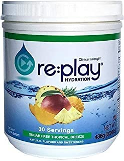 Re:Play Hydration Recovery Drink Powder, Sugar Free Tropical Breeze - 436g tub, 30 Servings