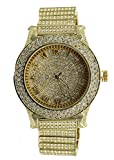 Men's Totally Iced Out Gold Tone Hip Hop Bling Bling Watch-Over Size