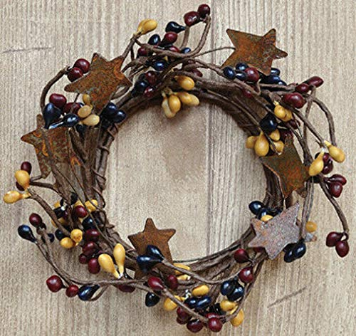 Maryn for Candle Napkin Ring 2' Pip Berry w/Rusty Tin Stars - Colonial Mix Burgundy Navy DIY for Home Décor Plaques & Signs, Floral Décor