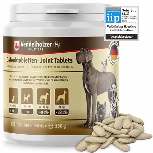 Veddelholzer VERGLEICHSSIEGER 2020 Hunde Gelenktabletten mit Grünlippmuschel MSM & Teufelskralle Glucosamin & Kollagen 125 Kapseln Leckerlis mit Hyaluron & Omega3