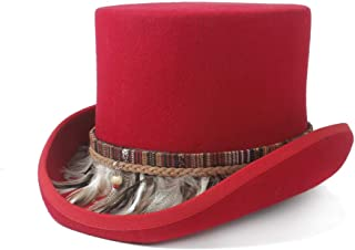 AE-KANGSHUAI 100% Wool Womw Men Crazy Hat Steampunk Top Hat Color Braided Feather Tassel Gentleman Hat Traditional Flat Top Hat
