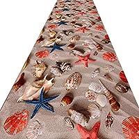 FUSHOU-クリエイティブ廊下敷きカーペット 、滑り止めお手入れが簡単ビーチ混合風景廊下用ランナーラグ、鮮やかなパターン柔らかい生地ブレンドしやすい廊下のカーペット,A,110x470cm
