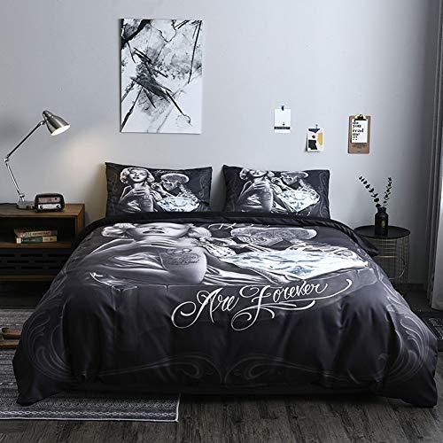 Funda nórdica Monroe Tattoo Juego de edredón de cama de impresión 3D Juego de funda nórdica de microfibra de calavera con funda de almohada Edredón de cama de punk rock oscuro cama preciosa lavados al