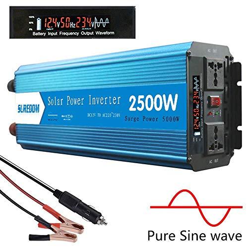 WJSW 2500W Wechselrichter Reiner Sinus (Peak 5000W), Spannungswandler 12V / 24V Auf 220V / 230V Kfz Wechselrichter Mit 2 Universalsteckdosen, Kfz Haushaltsnetzteil Notstromversorgung,24vTo230v
