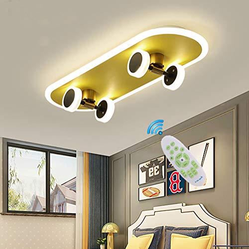 Deckenleuchte Gold Kinderzimmer Skateboard Lampe LED Dimmbar Schlafzimmer Deko Deckenlampe Jungen Kinder Jugendzimmer Decke Lampe Modern Design für Bad Wohnzimmer Wand Fernbedienung Pendelleuchte (A)