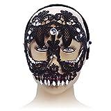 Bristol - Máscara de Ojos de Calavera de azúcar en la Diadema, Pet, poliéster, Piedra acrílica, Color Negro, Talla única