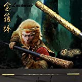 Weisheng Wooden Monkey King Staff Kungfu Wooden Wushu Sticks Monkey Cudgels Carving Dragon Golden Cudgel Sun Wukong Weapon Practice