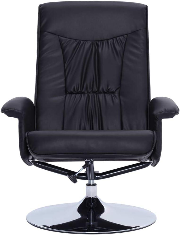 vidaXL Massagesessel mit Fußhocker Wärmefunktion Relaxsessel Fernsehsessel TV Sessel Polstersessel Ruhesessel Liegesessel Liegestuhl Schwarz Kunstleder Schwarz