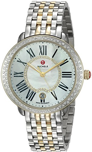 MICHELE Women's Serein Two-Tone Stainless-Steel Swiss-Quartz Watch Strap, Silver, 16 (Model: MWW21B000032)